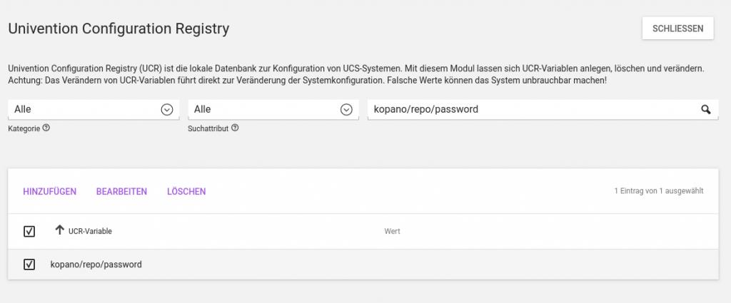 Univention Configuration Registry_Screenshot